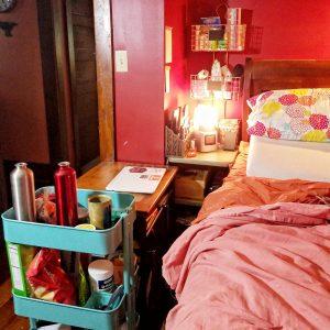 Photo of Rebecca's bedside setup