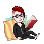 Bitomoji image of Rebecca reading a book
